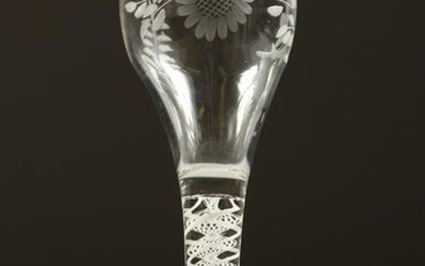 A GEORGIAN WINE GLASS, the bowl engraved with