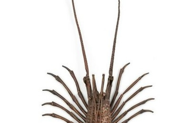 A Japanese Bronze Articulated Okimono of an Ebi (Spiny