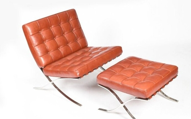 A Knoll Studio Barcelona chair and ottoman designed by Ludwig Mies Van Der Rohe, polished steel frame with padded Nasturtium leather cushions, unmarked, 76cm wide, 77cm high (chair) (5)