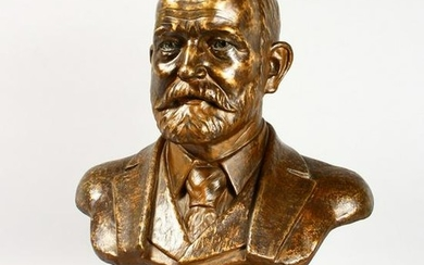 A LARGE CAST BRONZE BUST OF HENRY ROYCE