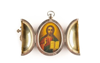 A LARGE SILVER AND CHAMPLEVÉ ENAMEL BOX SHOWING CHRIST