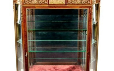 A Louis XV Style Gilt Bronze Mounted Marble-Top Vitrine