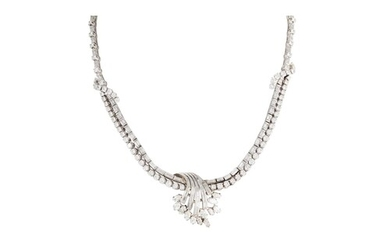 A MID 20TH CENTURY DIAMOND COCKTAIL NECKLACE, set with two r...