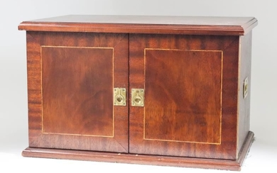 A Mahogany Canteen, Modern, inlaid with crossbandings and stringings...