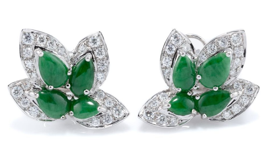 A PAIR OF 18CT WHITE JADE AND DIAMOND EARRINGS; leaf deigns each set with 4 pear shape cabochon bright green jadeite jades with cert...