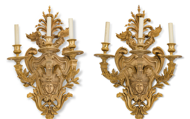A PAIR OF FRENCH ORMOLU THREE-LIGHT WALL-APPLIQUES, OF REGENCE STYLE, LATE 19TH CENTURY
