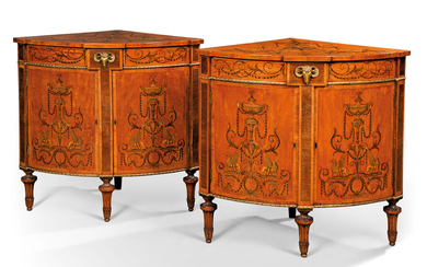 A PAIR OF GEORGE III ORMOLU-MOUNTED SATINWOOD, AMARANTH, GREEN-STAINED, INLAID AND ENGRAVED CORNER CABINETS