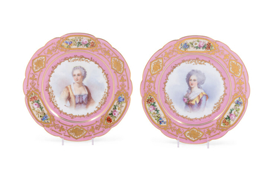 A Pair of Sèvres Painted and Parcel Gilt Pink-Ground Porcelain Plates