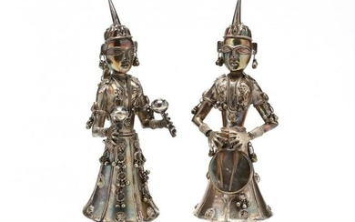 A Pair of Silver Tone Indian Figures of Musicians