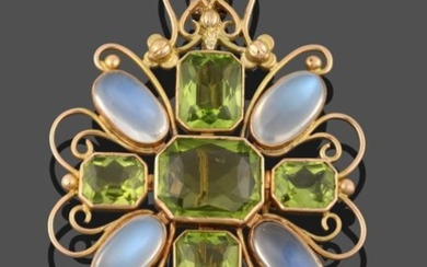 A Peridot and Moonstone Plaque Brooch, five emerald-cut peridots in...