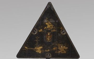 A RARE GEORGE I JAPANNED TRIANGULAR GAMES TABLE...