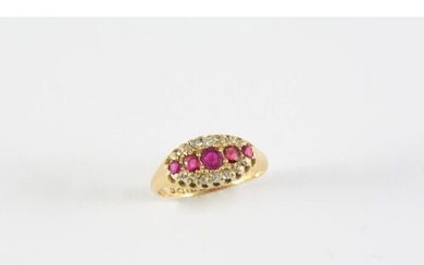 A RUBY AND DIAMOND CLUSTER RING the five graduated circular-...