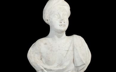 A Roman white marble female bust with a turban