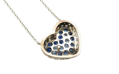 A SAPPHIRE AND DIAMOND PENDANT NECKLACE The heart