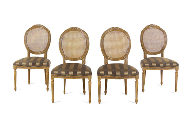 A Set of Four Louis XVI Style Caned Side Chairs