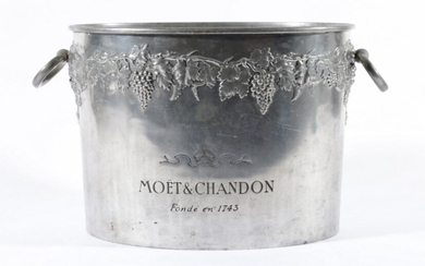 """A Vintage French Spelter """"Moet & Chandon"""" Champagne Bucket, Decorated with Grapevines and Twin Ring Handles,Impressed Fonde'en 1743..."""
