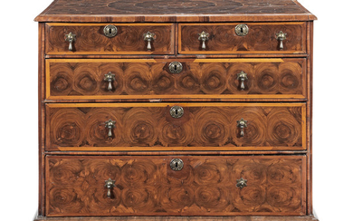 A William and Mary walnut, fruitwood and oyster veneered chest