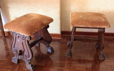 A couple of walnut stools