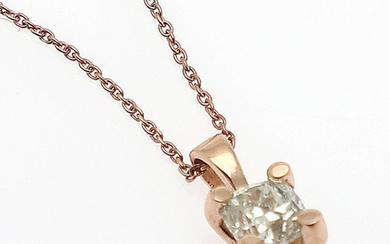 A diamond pendant set with a brilliant-cut diamond weighing app. 0.35 ct, mounted in 14k rose gold. L. app. 44 cm.