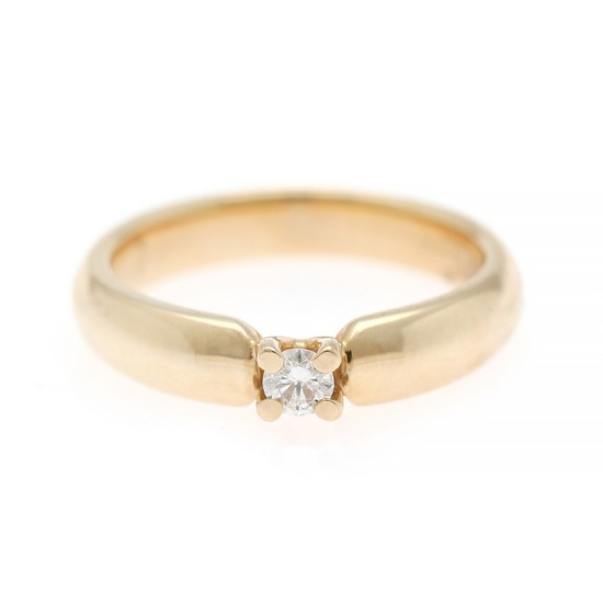 A diamond solitaire ring set with a brilliant-cut diamond weighing app. 0.13 ct., mounted in 14k gold. Weight app. 5 g. Size app. 54.