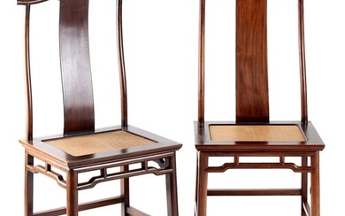 A pair of Chinese hongmu official's hat chairs, early 20th c...
