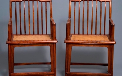 A pair of Chinese huanghuali wood chairs, Republic...