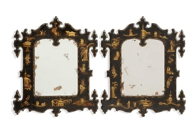 A pair of Chinoiserie decorated mirrors