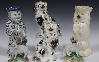 A pair of James Kent Staffordshire pottery spill vases, early to mid-20th century, modelled as a ram