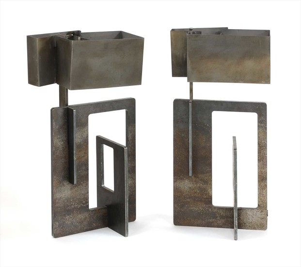A pair of angular steel table lamps
