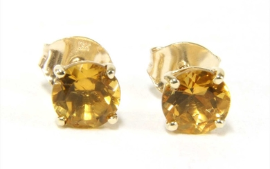 A pair of gold single stone citrine stud earrings