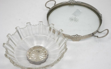 A pewter mounted glass tray, of circular...