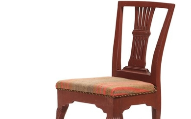 A redpainted wood Louis XVI chair. Late 18th century.