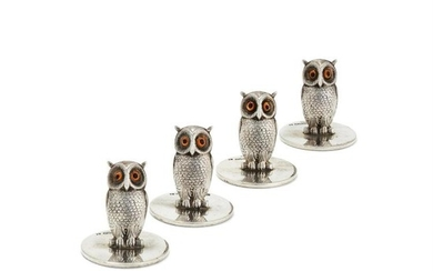 A set of four silver novelty owl menu or place name holders by Sampson Mordan & Co.