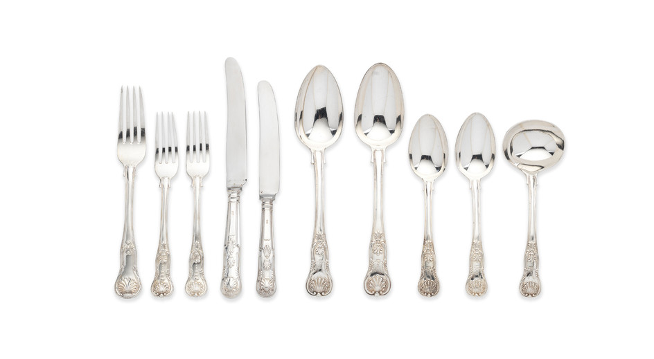 A silver flatware service, predominately King's Honeysuckle pattern