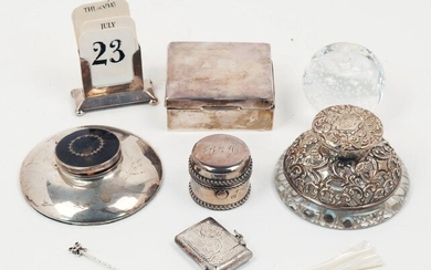 A small group of silver comprising: a small silver cigarette...