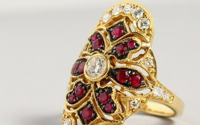 AN 18CT YELLOW GOLD, RUBY AND DIAMOND RING, in the Art