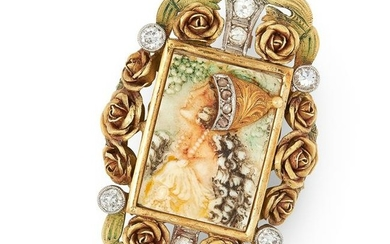 AN ART NOUVEAU ENAMEL AND DIAMOND CAMEO BROOCH, EARLY