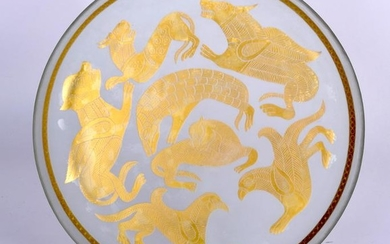 AN IRANIAN GLASS DISH, painted with gold coloured