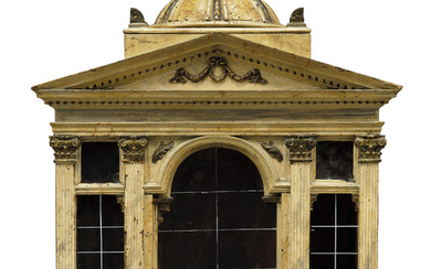AN ITALIAN PARCEL-GILT, POLYCHROME-PAINTED AND MARBLED MODEL OF A TEMPLE, 18TH CENTURY