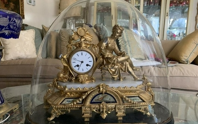 ANTIQUE FRENCH GOLD GILT FIGURAL MARBLE BASE CLOCK