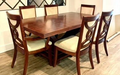 ART DECO STYLE DINING TABLE AND 6 CHAIRS & COMMODE
