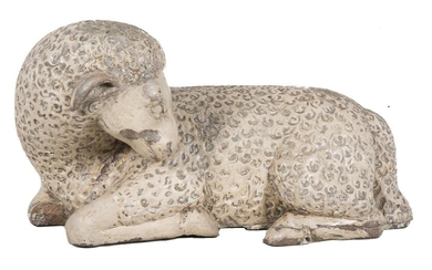 Agnus Dei. Carved and polychromed wood sculpture. Spain