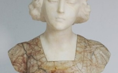Alabaster Young Woman Bust on Marble Base Italian 1890s