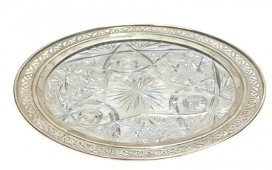 American Sterling Silver & Brilliant Cut Glass Dish
