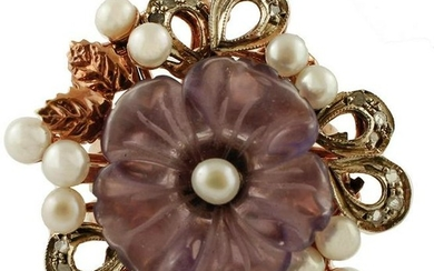 Amethyst Flower, Diamonds, Pearls, 9k Rose gold and