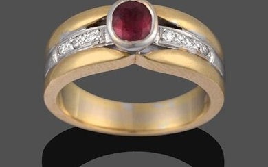 An 18 Carat Two Colour Gold Ruby and Diamond Ring,...