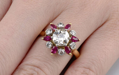 An 18ct gold old-cut diamond, ruby and brilliant-cut diamond floral cluster ring.