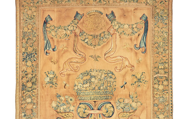 An 18th century armorial wall hanging, French, circa 1730-50