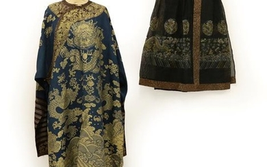 An Early 20th Century Chinese Blue and Silver Woven Lightweight...
