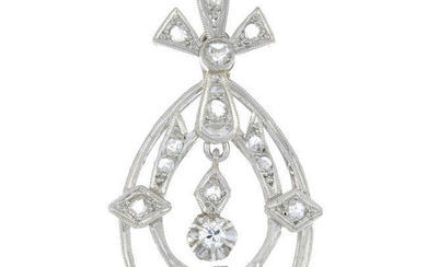 An early 20th century platinum old-cut and rose-cut diamond openwork pendant.